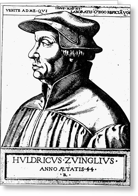 Reformer Greeting Cards - Huldreich Zwingli Greeting Card by Granger