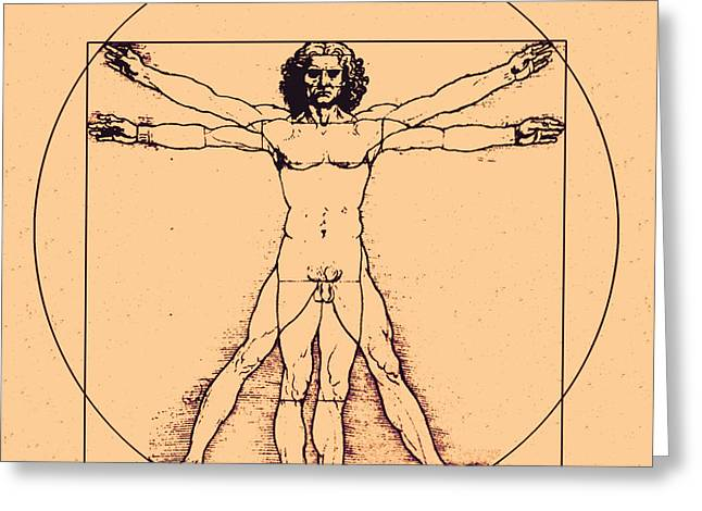 Historical Images Greeting Cards - Human Body By Da Vinci Greeting Card by Omikron