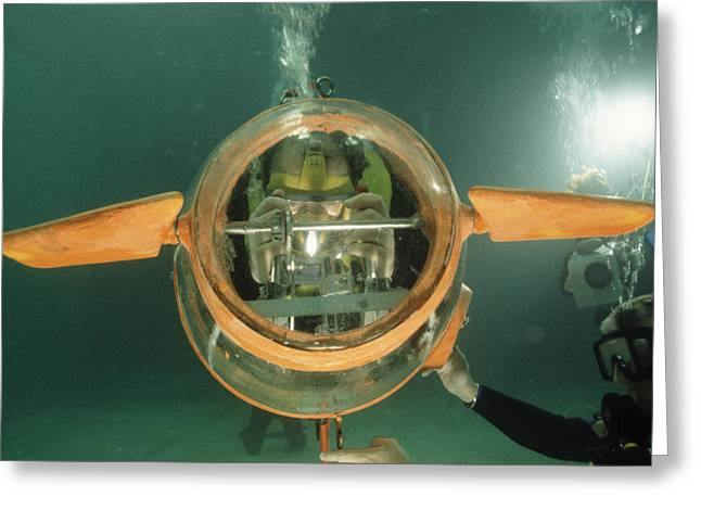 Underwater Breathing Greeting Cards - Human-powered Submarine Greeting Card by Alexis Rosenfeld