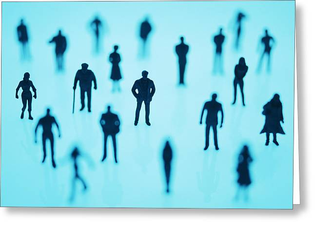 Many People Greeting Cards - Human Silhouettes Greeting Card by Lawrence Lawry