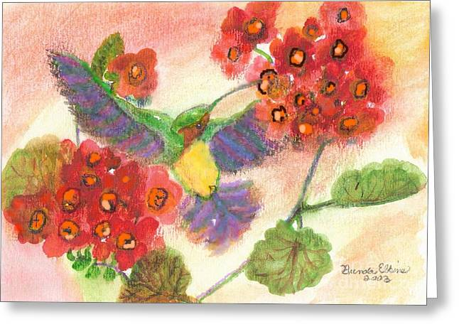 Red Geraniums Mixed Media Greeting Cards - Hummer Greeting Card by Brenda Elkins