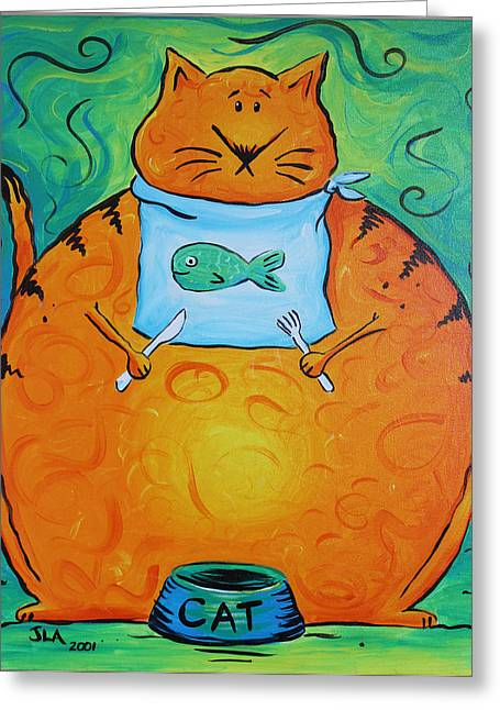 Fed Greeting Cards - Hungry Cat Greeting Card by Jennifer Alvarez