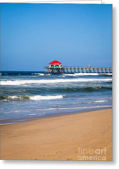 Historic City Pier Greeting Cards - Huntington Beach Pier in Orange County California Greeting Card by Paul Velgos