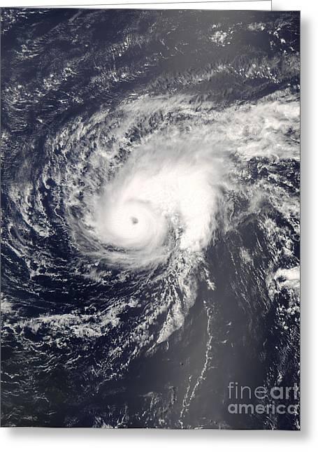 Atlantic Ocean.disaster Greeting Cards - Hurricane Bertha In The Mid-atlantic Greeting Card by Stocktrek Images
