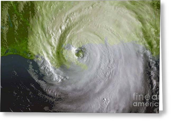 Hurricane Katrina Greeting Cards - Hurricane Katrina Greeting Card by Science Source