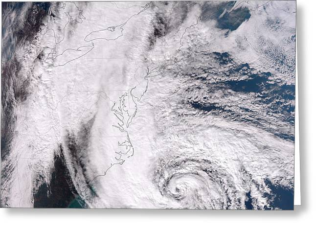 Superstorm Sandy Greeting Cards - Hurricane Sandy Along The Northeastern Greeting Card by Stocktrek Images