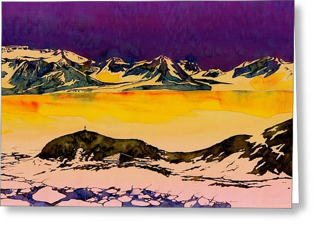 Golds Tapestries - Textiles Greeting Cards - Hut Point Antarctica Greeting Card by Carolyn Doe