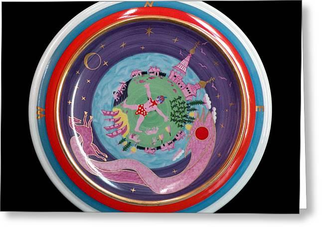Decoration Ceramics Greeting Cards - I and my native land. Greeting Card by Vladimir Shipelyov
