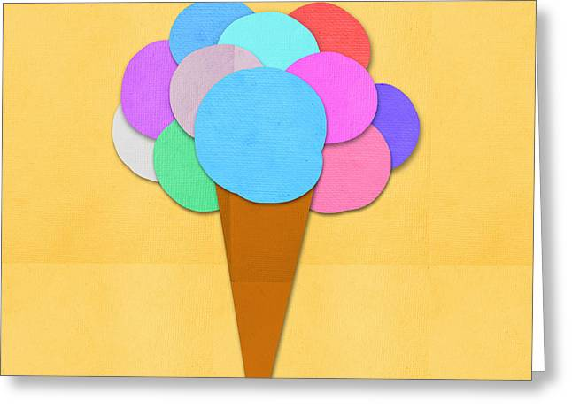 Ice Cream On Hand Made Paper Greeting Card by Setsiri Silapasuwanchai