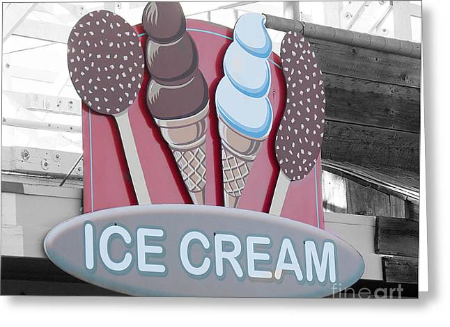 Santa Cruz Ca Greeting Cards - Ice Cream Sign Greeting Card by Jim and Emily Bush