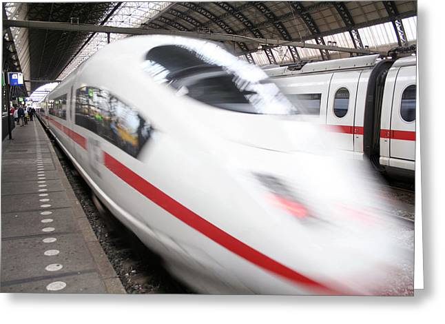 Express Greeting Cards - Ice Express Train Greeting Card by Chris Martin-bahr