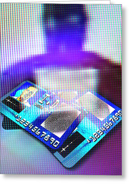 Steal Prints Greeting Cards - Identity Fraud, Artwork Greeting Card by Christian Darkin