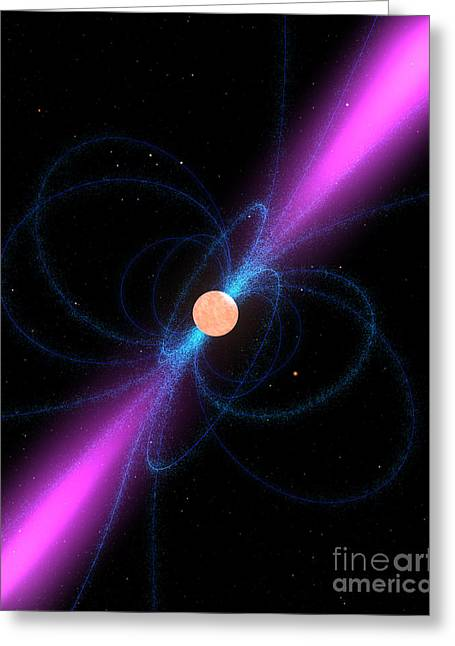 Pulsar Greeting Cards - Illustration Of A Pulsar Greeting Card by Stocktrek Images