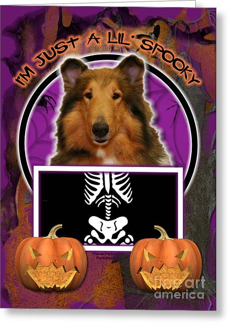 Halloween Greeting Cards - Im Just a Lil Spooky Collie Greeting Card by Renae Laughner