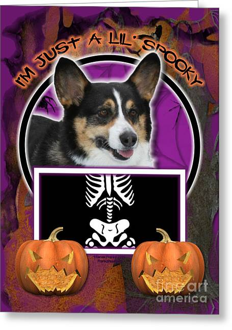 Canine Greeting Cards - Im Just a Lil Spooky Corgi Greeting Card by Renae Laughner