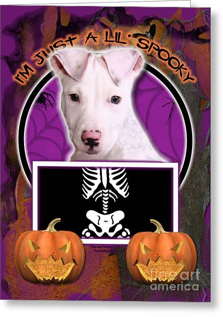 I'm Just A Lil' Spooky Pitbull  Greeting Card by Renae Laughner