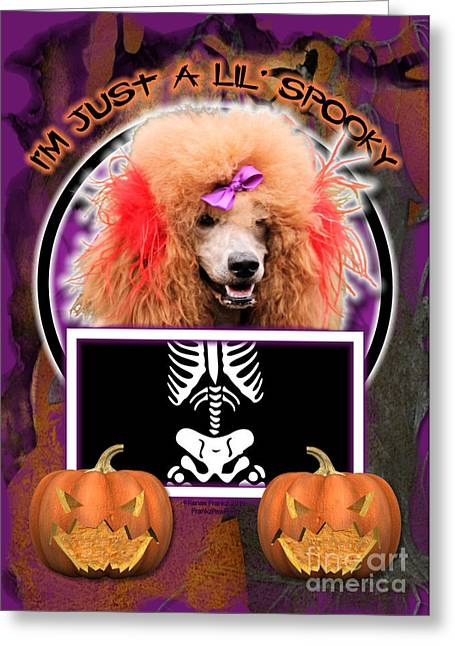 Canine Greeting Cards - Im Just a Lil Spooky Poodle Greeting Card by Renae Laughner
