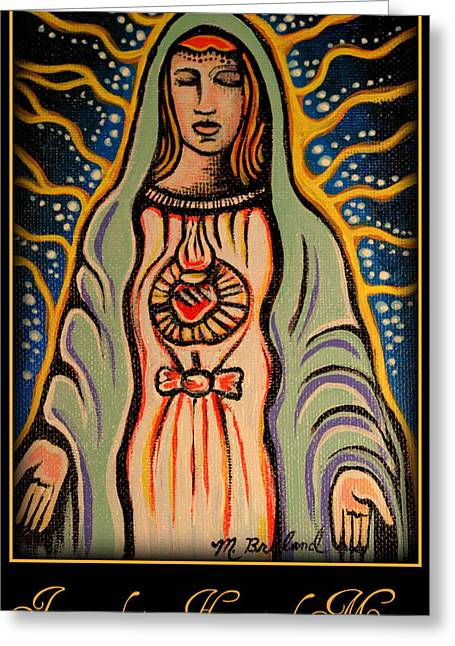 Immaculate Heart Greeting Cards - Immaculate Heart of Mary Greeting Card by Melissa Wyatt