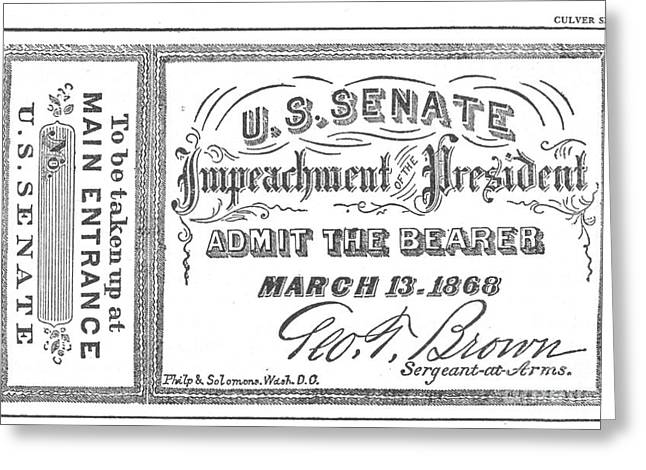 Post-civil War Greeting Cards - Impeachment Ticket, 1868 Greeting Card by Photo Researchers