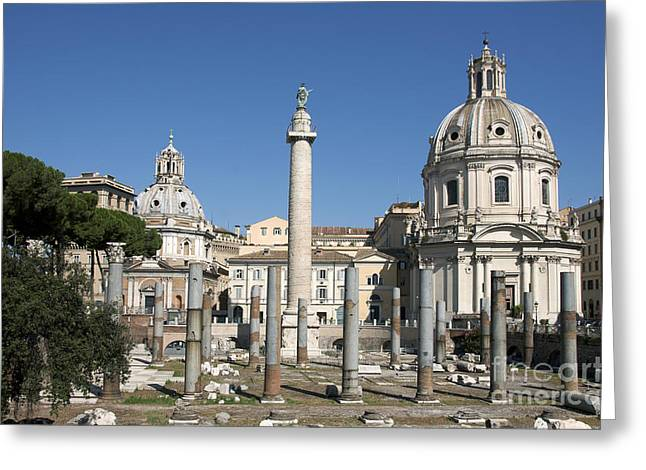 Most Greeting Cards - Imperial Fora with the Trajans Column and the Church Santissimo Nome Di Maria.  Rome Greeting Card by Bernard Jaubert