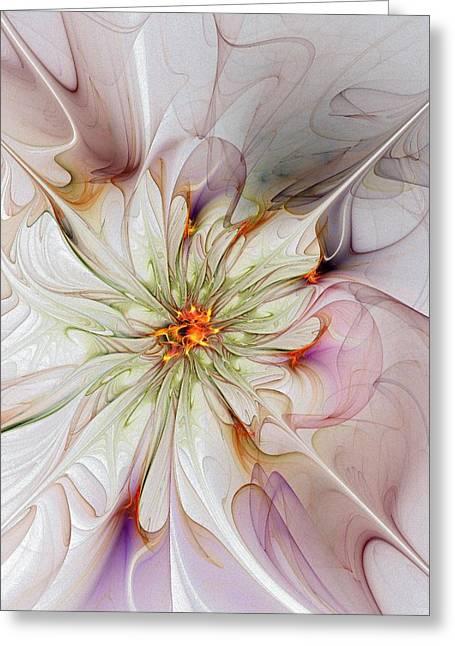 Floral Digital Art Greeting Cards - In Full Bloom Greeting Card by Amanda Moore