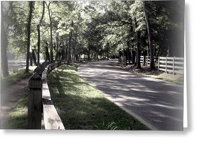 In My Dream The Road Less Traveled Greeting Card by Nancy Dole McGuigan