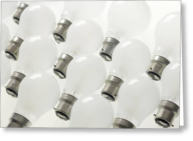 Incandescent Light Bulbs Greeting Card by Tek Image