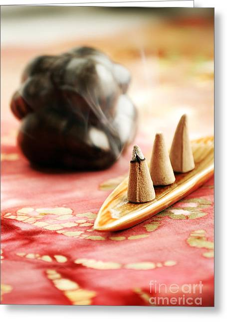 Peaceful Still Life Greeting Cards - Incense Greeting Card by HD Connelly