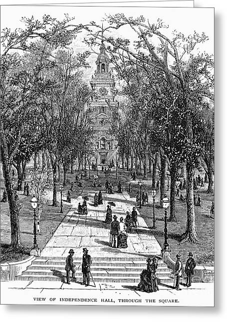 1876 Greeting Cards - INDEPENDENCE HALL, c1876 Greeting Card by Granger