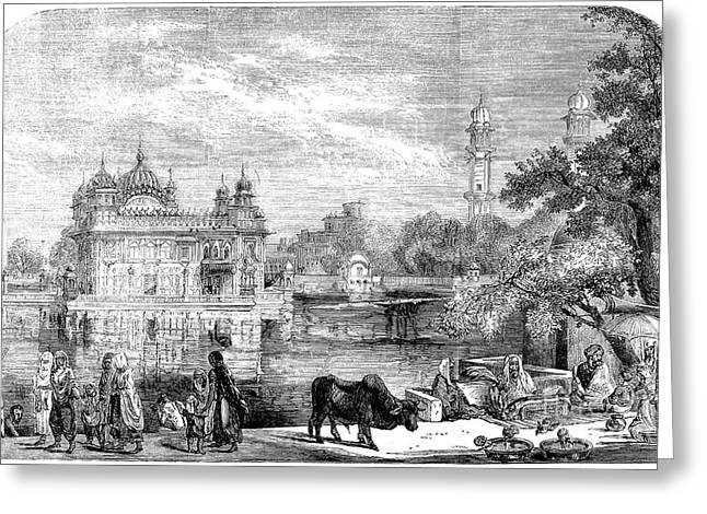 Punjab Greeting Cards - India: Golden Temple, 1858 Greeting Card by Granger