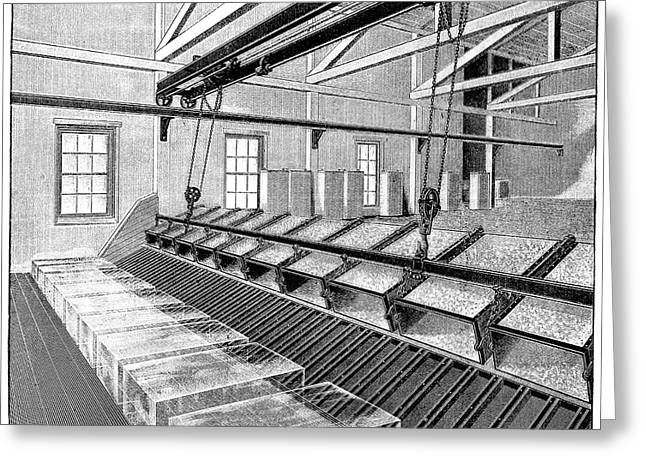 Coolant Greeting Cards - Industrial Ice Production, 19th Century Greeting Card by