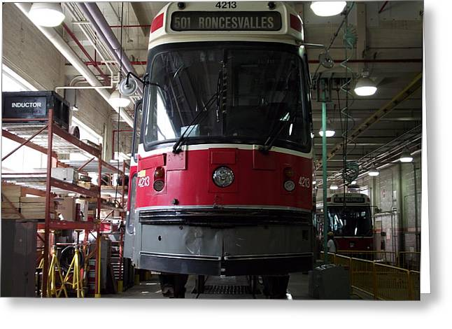 Toronto Transit Commission Greeting Cards - Inside a Streetcar House Greeting Card by Jenny Katsaris
