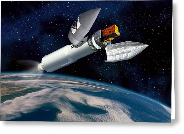 Grb Greeting Cards - Integral Satellite Launch, Artwork Greeting Card by David Ducros