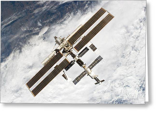 Cloud To Cloud Greeting Cards - International Space Station Greeting Card by Nasa
