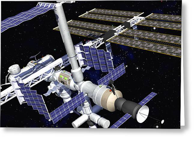 Iss Greeting Cards - International Space Station Greeting Card by Roger Harris