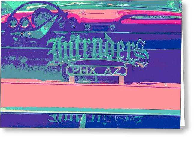 Tricked-out Cars Greeting Cards - Intruders Car Club Greeting Card by Chuck Re