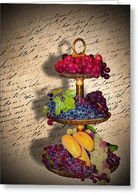 Grape Leaves Mixed Media Greeting Cards - Invitation Greeting Card by Svetlana Sewell
