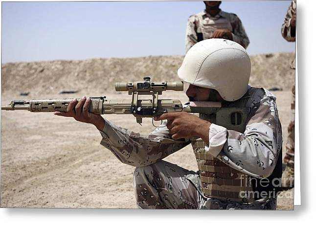 Iraqi Army Greeting Cards - Iraqi Army Sergeant Sights Greeting Card by Stocktrek Images