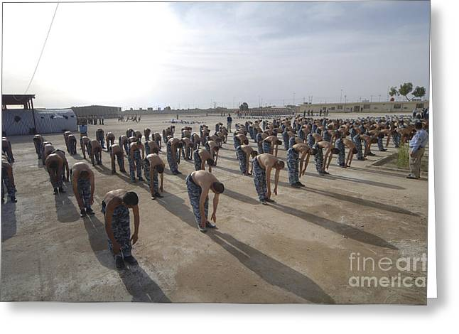 Military Police Greeting Cards - Iraqi Police Cadets Being Trained Greeting Card by Andrew Chittock