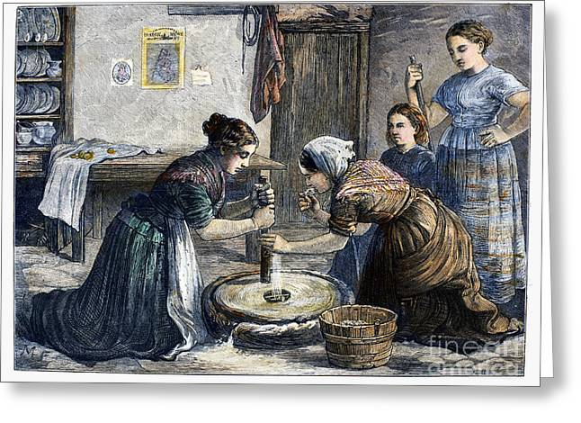Flour Greeting Cards - Ireland: Hand Mill, 1874 Greeting Card by Granger