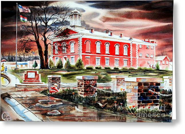 Arcadia Mixed Media Greeting Cards - Iron County Courthouse II Greeting Card by Kip DeVore