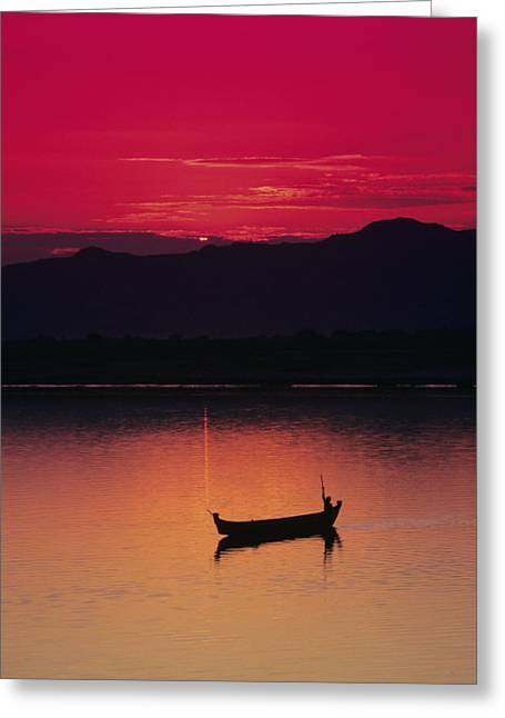 Bagan Greeting Cards - Irrawaddy River Greeting Card by Gloria & Richard Maschmeyer - Printscapes