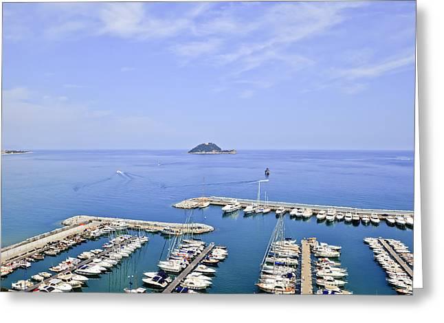 Liguria Greeting Cards - Island Gallinara Greeting Card by Joana Kruse