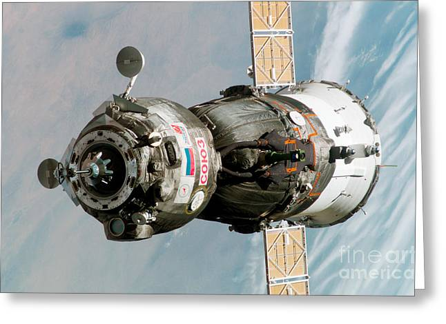 Iss Greeting Cards - Iss Expedition 11 Crew Arriving Greeting Card by NASA / Science Source