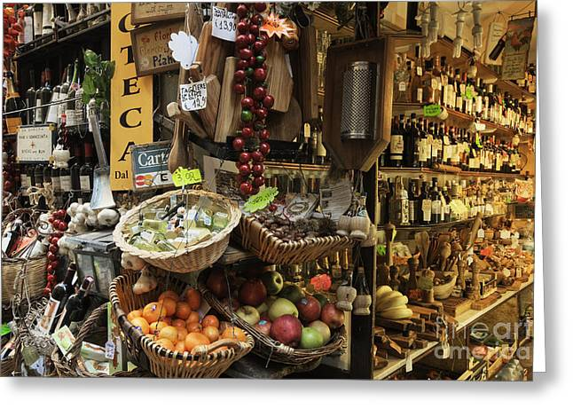 Italian Wine Greeting Cards - Italian Delicatessen or Macelleria Greeting Card by Jeremy Woodhouse