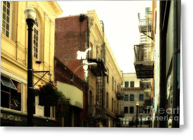 Downtown Books Greeting Cards - Jack Kerouac Street San Francisco . 7D7437 Greeting Card by Wingsdomain Art and Photography