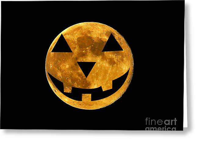 Luna Greeting Cards - Jack-o-lantern Moon Greeting Card by Al Powell Photography USA