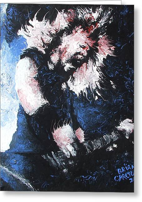 Super Stars Paintings Greeting Cards - James Hetfield Greeting Card by Brian Carlton