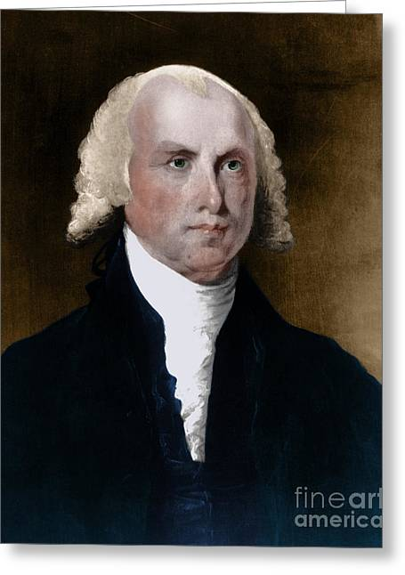 Slave Owner Greeting Cards - James Madison, 4th American President Greeting Card by Photo Researchers