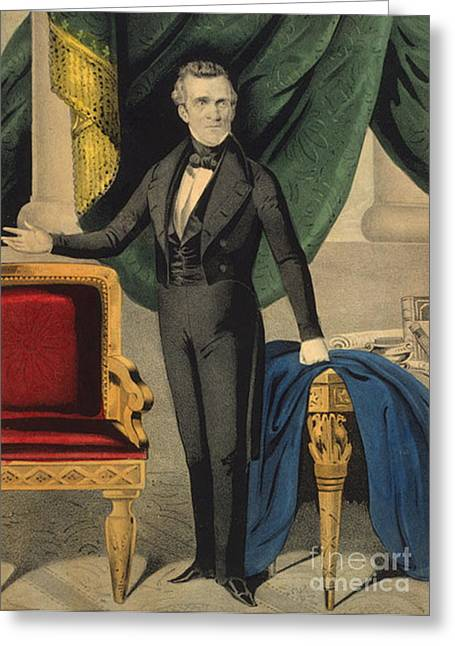 America First Party Greeting Cards - James Polk, 11th American President Greeting Card by Photo Researchers